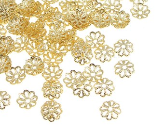 144 Gold Bead Caps Plated Gold Beadcaps 6mm Filigree Caps Gold Jewelry Beads Small Bead Caps Gold (FS116)