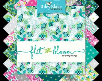 """Flit and Bloom by Patty Young - Charm Pack (42) 5"""" squares (stackers) - Riley Blake - C"""