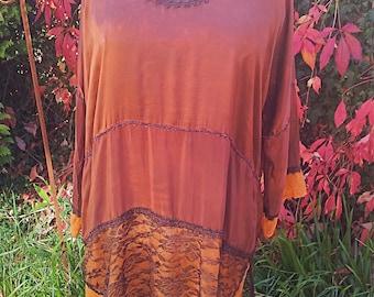 Silk tunic, blouse, dress, layered look, patchwork, batik