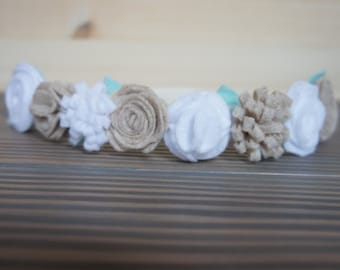 White and oatmeal felt flower crown, adult flower crown, baby headband, toddler flower crown, soft headband, felt flowers
