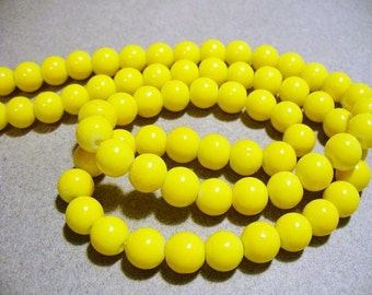 Glass Beads Yellow  Round 8MM