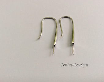 2 for semi-percee Pearl 925 sterling silver ear wires