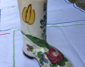 E&R California art pottery Handpainted cowboy boot planter vase