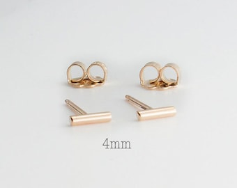 Gold Sud Earrings, Gold Bar Earrings, Very Tiny Gold Bars, 4mm Gold Bar Studs, Gold Studs, Handmade Studs, Gold Stick, Dainty 4 x 1.2mm