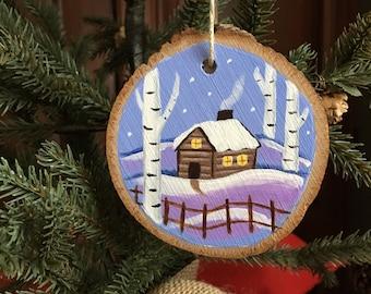 Snowy Cabin Ornament