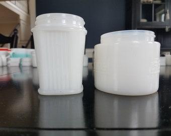 Pair of Milk  Glass Cosmetic Jars