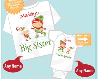 Christmas theme Set of Two, Big Sister Elf Shirt, and Little Sister Elf Onesie or Shirt Set Personalized 12012014e