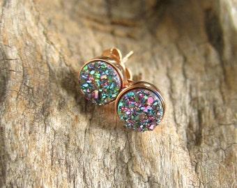 Druzy Earrings, Druzy Earrings Studs, Rainbow Peacock Druzy, Rose Gold Druzy Earrings, Drusy Earrings, Bridesmaid Earrings, Bridesmaid Gift