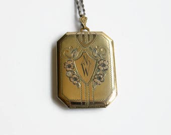 Vintage Rosy Gold Filled Locket Necklace, Initials NW, Circa 1940's