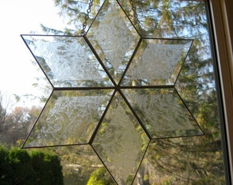 Stained glass diamond bevel cluster