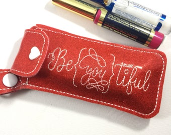Lipstick keyfob-lipstick travel case-lipsense case - clip on lipgloss holder - lipsense holder - makeup bag - gifts for her - hostess gifts