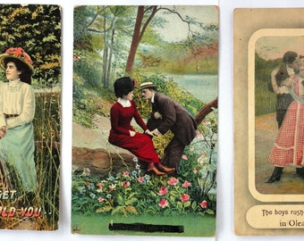 antique Romantic postcards hand colored set Kissing Couples lot Valentine victorian