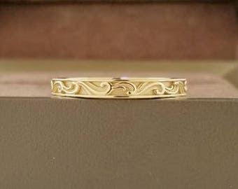 Womens wedding band 14k gold solid