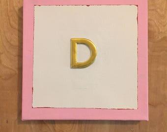 "Monogram ""D"" Art on Canvas"