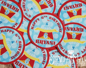 Circus Carnival Birthday Party Stickers