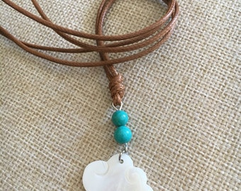 Lovely White Cloud Necklace, Cute Bohemian Cloud Necklace, Fully Adjustable Straps, Charm Necklace Autumn Nuance