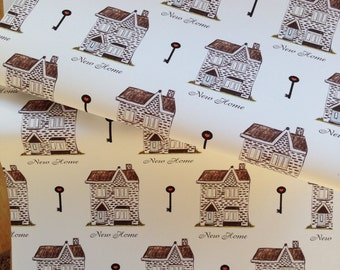 New home wrapping paper, gift wrap, homes, houses, moving house, house warming, new home, read description