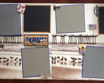 "2 Page 12x12 Premade Scrapbook Page Set-""Navy"""