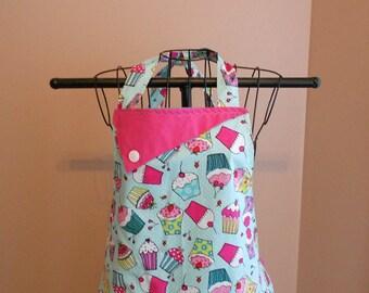 Cupcakes and Aqua Polka Dots - Women's Apron - Ruffle - Pocket - Baking - Sweets - Food