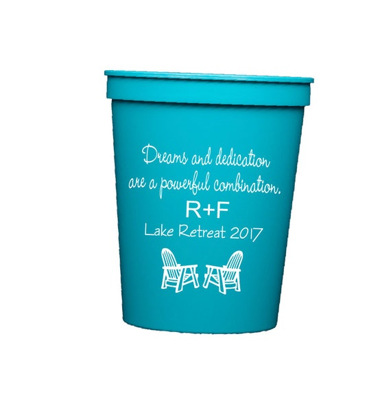 rodan and fields cups, rodan and fields retreat, R + F party, personalized stadium cups, R + F team, Lake house cups