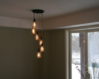 "Jar Chandelier Light   - 6Strand Spiral Mason Jar Chandelier on 12"" Oil Rubbed Bronze Canopy with Edison Bulbs Optional"