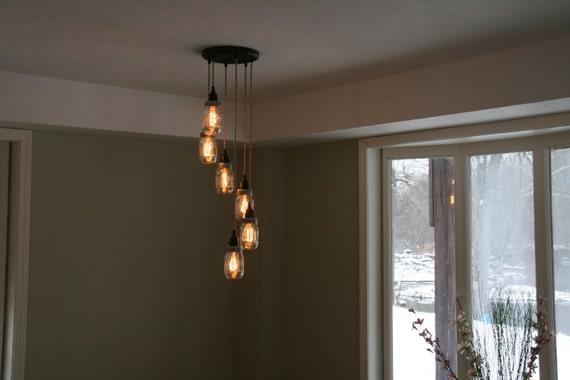 Jar chandelier light 6strand spiral mason jar chandelier aloadofball Images