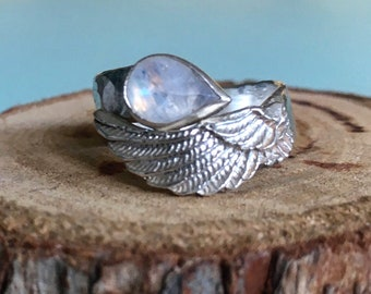 Angel Wing Ring with Tear Shape Moonstone and Silver Hammer Textured Wrap Band