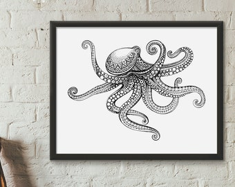 Ornamental Art • Hand Drawn • Animals • Octopus • Black and White • Poster • Digital Download • Printable Artwork • Wall Decoration