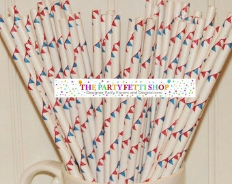 Straws 4th of July Favors Nautical Party Favors Beach Favors Red White and Blue Straws Drinking Straw Bunting Straws Party Straws Polka Dots