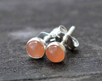 peach moonstone and sterling silver tiny stud earrings