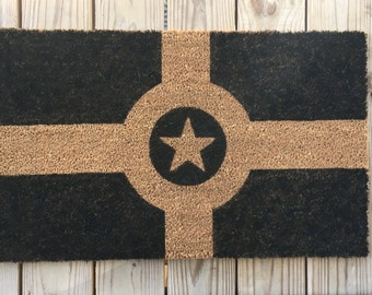 indianapolis flag, handmade doormat, city living, Cute welcome mat, home and living, housewarming gifts, home décor, handmade, trendy