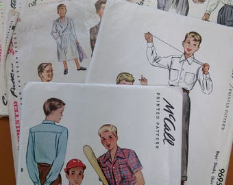 Lot 7 Vtg 40s Boy's Sewing Patterns McCall 6165 and 9695 Simplicity 4133 2543 and 2049 Sizes 8-16