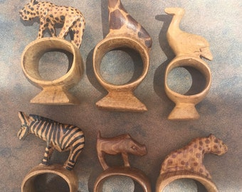 Hand Carved Wood Animals - Set 12 - Hand Carved African Animal Napkin Rings - Vintage Wood Animals - Made in Kenya - Safari Animals - Dining