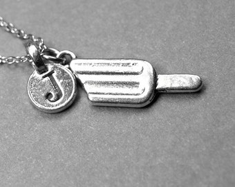 Small Popsicle Charm Necklace silver silver plated pewter, initial necklace, initial hand stamped, personalized, monogram