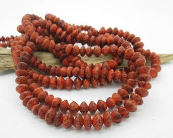 Orange Salwag Seed Saucer Bead, Natural Seed Bead, Southwest Saucer Bead, 8mm (1 strand)