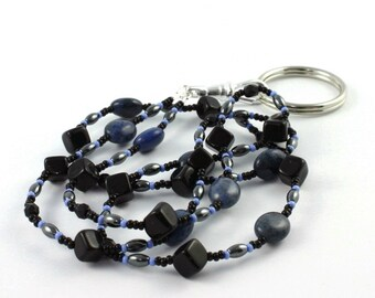 Coworker Gift Black ID Lanyard Gemstone Denim Blue Badge Holder Gray Beaded Lanyard Office Fashion Gift for Boss