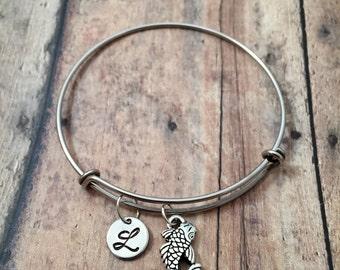 Koi initial bangle- koi fish jewelry, koi bracelet, pond bracelet, Japanese fish jewelry, goldfish bangle, zen jewelry, koi fish bracelet