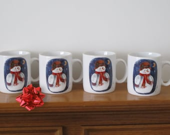 Vintage 1997 Ceramic Elaine Thompson Snowman Mug Gift Set of Four Winter Christmas Fun for Coffee, Tea, Hot Cocoa, or Eggnog MINT LIKE NEW