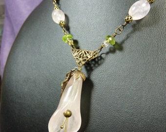 A Spring Lily Necklace of Rose Quartz