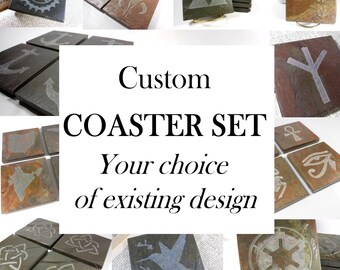 Custom Coasters Set - Personalized with YOUR CHOICE of Existing Design - Hand Carved Slate Coasters, Thick Heavy Stone Coasters for Drinks