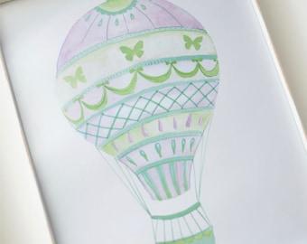 Butterfly Hot Air Balloon Art Print (Nursery Artwork - Blue and Purple Hot Air Balloon Watercolor Print - Kids Decorations)
