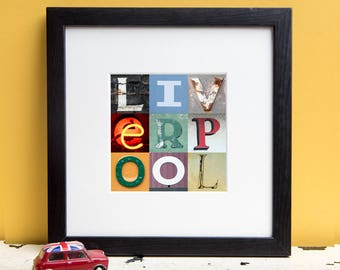 Liverpool Typography Print - Liverpool Art - Typography Wall Art - Kate Cooper Photography
