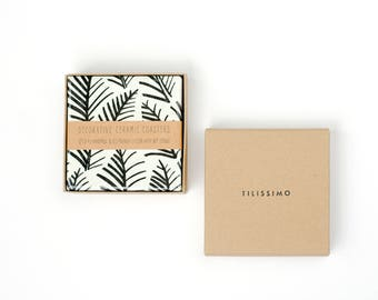 Botanical Stamp Coasters Branches Black and White Minimal Ceramic Tile Coasters