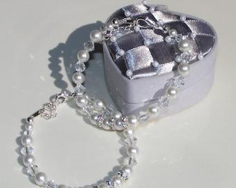 6mm Swarovski Crystal and Pearl Flower Girl - Jr Bridesmaid or Bridesmaid Bracelet- Gift Boxed