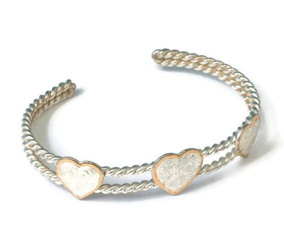 Southwestern Style Heart Cuff Bracelet Silver Tone Metal Vintage Bracelet