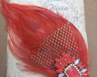 Coralina Feather Fascinator - Bridal Headpiece, Feather Headpiece, Great Gatsby, Flapper, 1920s
