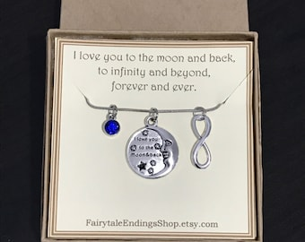 I Love You to the Moon and Back Necklace with Infinity Charm - C140 - Infinite Love - Anniversary Gift - Friendship Necklace - Gift for Wife