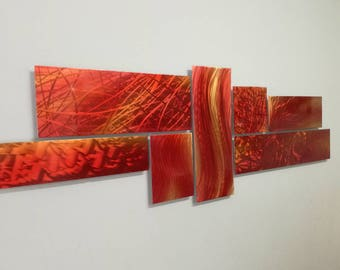 Metal Wall Art, Modern Wall Sculpture, Red Abstract Wall Sculpture, Modern Wall Decor, Multipanel Wall Sculpture, Livingroom Wall Decor