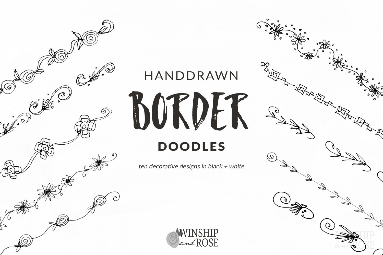 Floral borders clip art hand drawn flower borders set zoom mightylinksfo Image collections