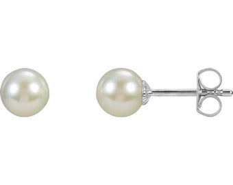 Sterling Silver 6-6.5mm Freshwater Cultured Pearl Earrings.